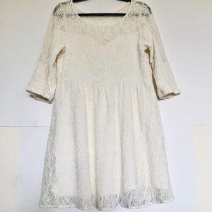 Free People Ivory Lace Babydoll Cutout Dress Sz L